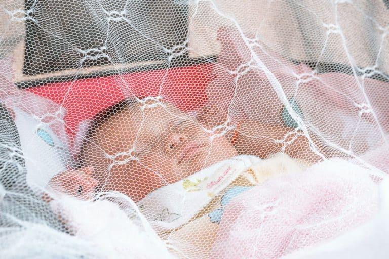 Bebé durmiendo con mosquitera