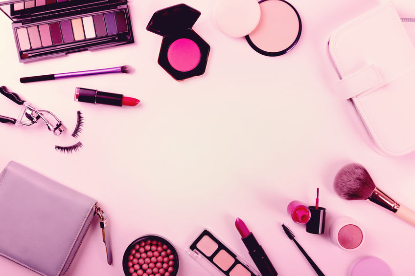 makeup cosmetics set. top view with copy space