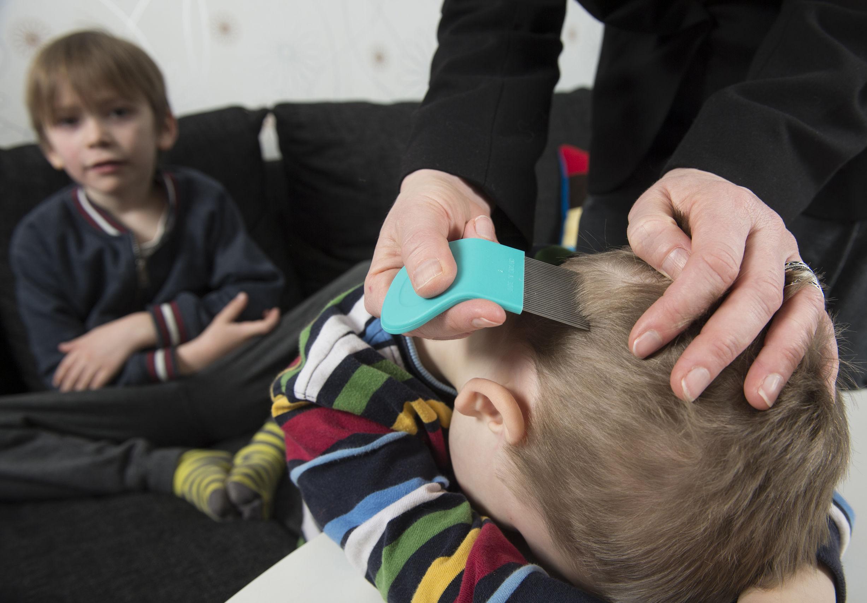 Madre comprobando la cabeza del niño en busca de piojos con un peine
