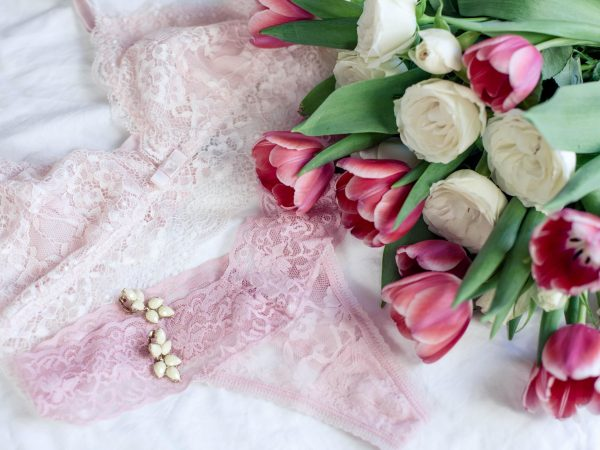 Women's underwear. Pink lace. Spring. Holidays. Flowers. Tulips and roses. Valentine's Day. International Women's Day. Cozy