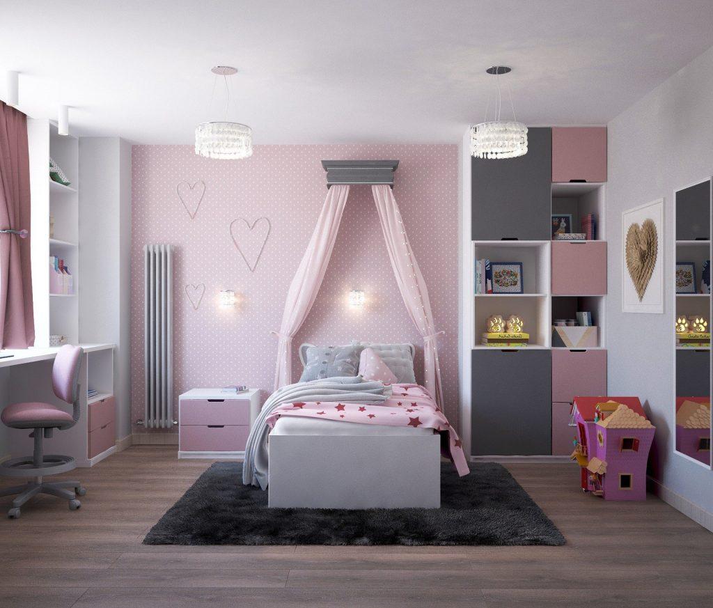 Imagen de cama infantil color rosa