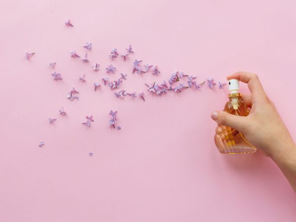 hand holding stylish bottle of perfume with spray of lilac flowers on pink background. creative trendy flat lay with space for text. modern image. perfumery and floral scent concept