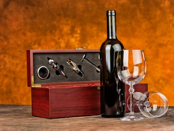 Wine set with bottle and two glasses
