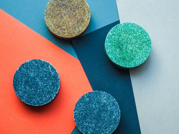 Colorful round solid shampoo bars, zero waste, dry shampoo