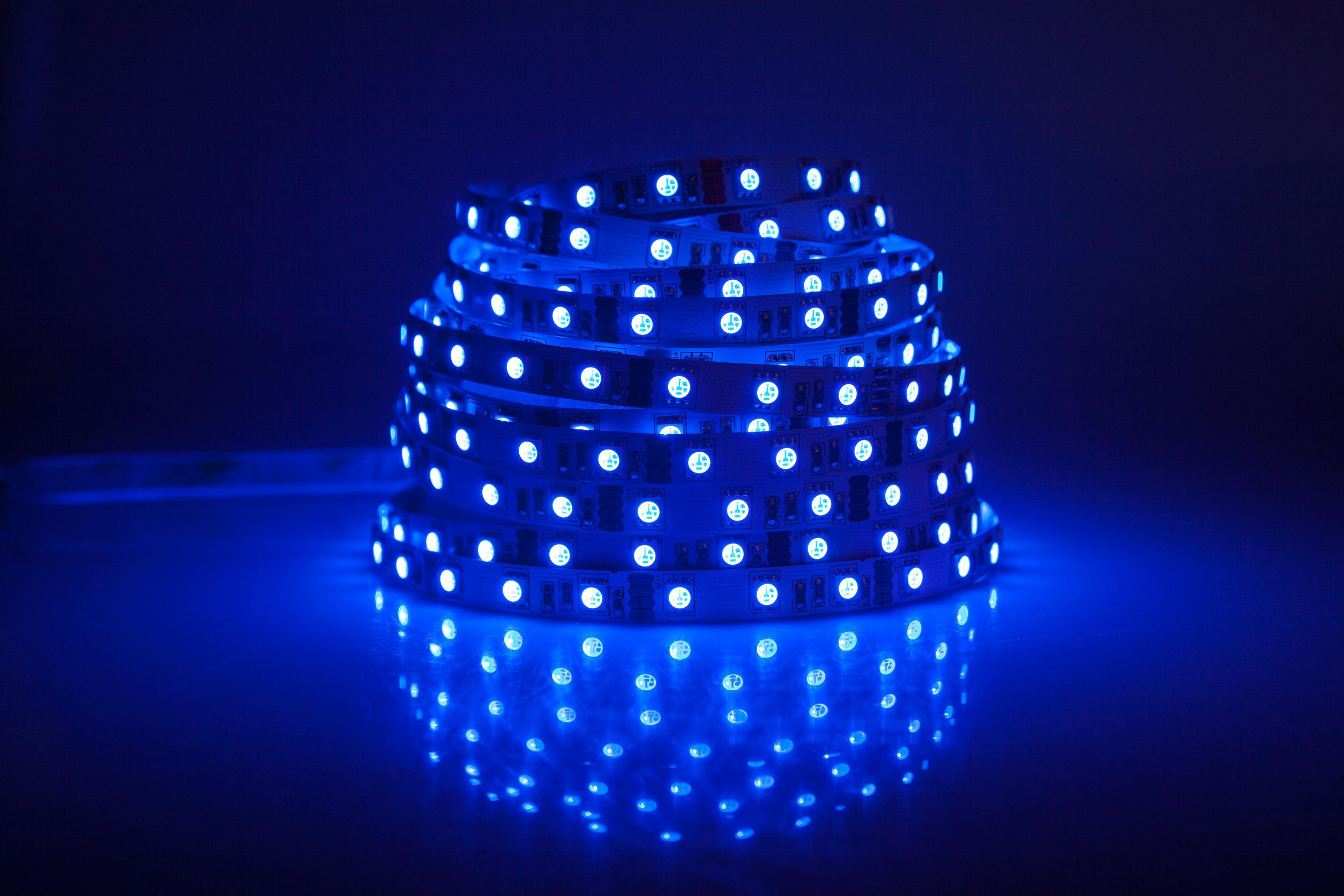 Tira de luces led azul