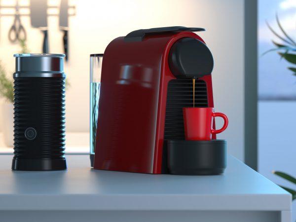 espresso coffee capsules machine in process of making fresh coffee in bright modern cozy kitchen. 3d rendering. Breakfast time.