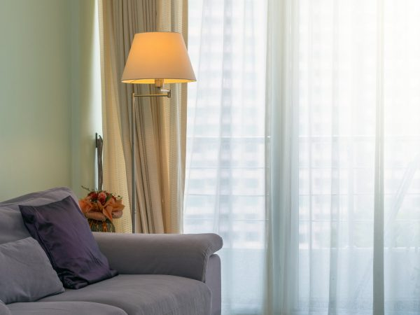 Sofa and lamp in Luxury Interior living room