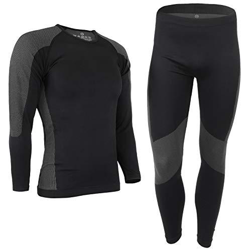 ALPIDEX Set de Ropa Térmica para Hombre, Ropa Interior para esquí - Transpirable, cálida y de Secado rápido, Tamaño:S/M, Color:Black-Grey