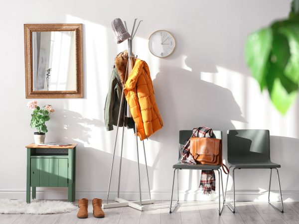 Modern hall interior with hanging clothes