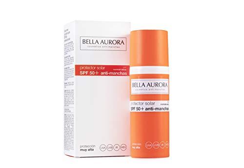 Bella Aurora Protector Solar 50 Facial Anti-Manchas Piel Normal Seca, 50 ml | Crema Protección del Sol Cara | Bloqueador Solar