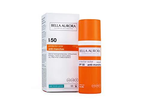 Bella Aurora Protector Solar 50 Facial Anti-Manchas Piel Mixta Grasa, 50 ml | Crema Protección del Sol Cara | Bloqueador Solar